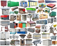 Small industrial objects on city streets - benches, booths, tras Stock Image