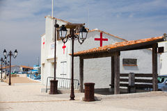 Small infirmary building on the empty beach in Marseille. Stock Image
