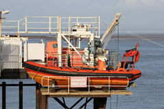 Small inflatable boat ready for launch Fleetwood Stock Photography