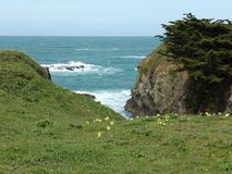 Embayment Along the Pacific Coast - Road Trip Down Highway 1 Discovery Route Along The California Coast. Small Inlet Along the California Coastal Cliffs royalty free stock image