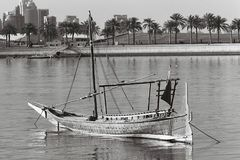 Small inshore dhow on black and white film Royalty Free Stock Photos
