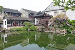 A small internal Chinese courtyard and trees. City of Shanghai. Pond in the Chinese park.  royalty free stock photography