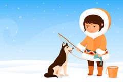 Small Inuit girl and her dog Stock Photography