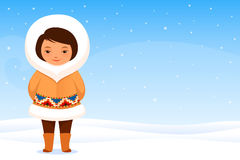 Small Inuit girl in traditional clothes Stock Image
