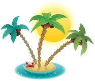 Small Island. Small tropical island on white background Royalty Free Stock Photo