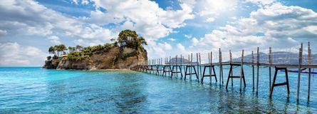 The small island Agios Sostis on Zakynthos, Ionian Islands, Greece stock photos