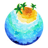 Small island big ocean world earth watercolor painting design. Illustration hand drawn stock illustration