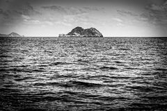 Small island in black and white Royalty Free Stock Photo