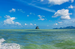 Small island on blue sky. In gulf of Thailand Stock Photography