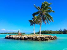 Small Island in Bora Bora. Bora Nora island in ocean Stock Photography