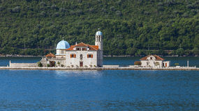 Small island with Church in Kotor Bay Royalty Free Stock Image