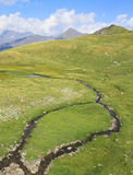 Small island in creek in pyrenees mountains Royalty Free Stock Photos