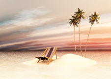 Small island with deck chairs at sunset Stock Image