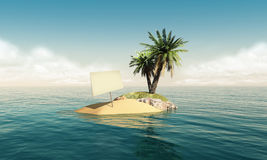 Small island with an empty sign. Small tropical island in the middle of the ocean with a small palm tree and a blank sign on it Stock Photo