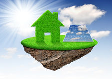 Small island. With green house and solar panel Stock Photo