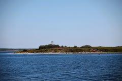 Small island in the Gulf. Island in the Bay of the White Sea, Solovki village, Karelia, Russia Royalty Free Stock Image