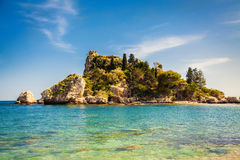 Small island Isola Bella. In the city Taormina, Sicily stock image