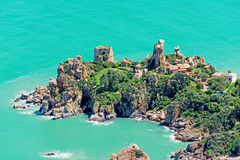 Small island in Italy with houses Royalty Free Stock Image