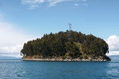 Small island in lake titicaca royalty free stock image