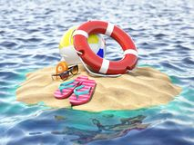 Small island with lifebelt ball and flipflops. Summer trip vacat Royalty Free Stock Image