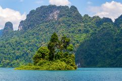 Small island in the middle of the lake royalty free stock photography