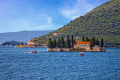 Small island with Monastery Royalty Free Stock Images