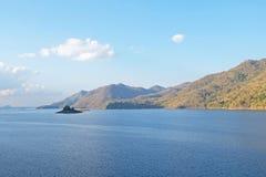 Small island and mountains with lake at Srinakarin public dam in. Kanchanaburi province,Thailand Stock Photos