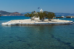 Small island with Orthodox Church in Chora town, Naxos Island, Greece Stock Image