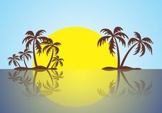 Small island with palms against a decline. With reflection in water vector illustration