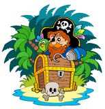 Small island and pirate with hook Royalty Free Stock Photo