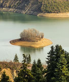 Small island in Plastiras lake at central Greece Stock Photography