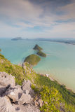 Small Island in the sea aerial view over mountain hill Royalty Free Stock Images