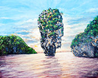 Small island on the sea by oil painting Royalty Free Stock Photos
