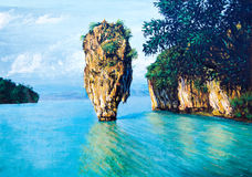 Small island on the sea by oil painting Royalty Free Stock Photography