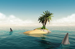 Small island with sharks. Small tropical island in the middle of the ocean with a small palm tree and sharks around it Royalty Free Illustration