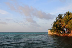 Small island of Tobacco Caye, Belize Royalty Free Stock Photo