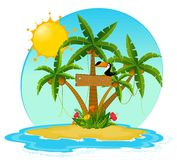 Small Island with tropical palms Stock Photo