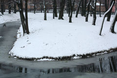 Small island at winter. Tiny island in the small pond covered by first snow Royalty Free Stock Photos