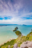 Small islands and beach curved top view Royalty Free Stock Image