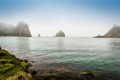 Small islands  in the fog off the Washington coast Royalty Free Stock Photography