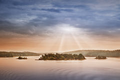 Small islands in the morning near to Stockholm Royalty Free Stock Photos