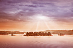 Small islands in the morning near to Stockholm Royalty Free Stock Image