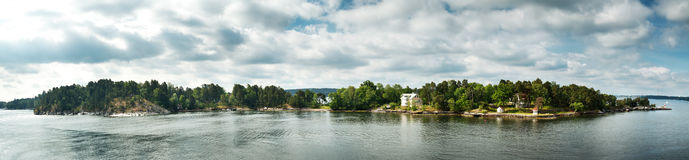 Small islands in the morning near to Stockholm Stock Photography