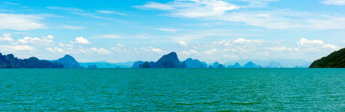 Small islands seascape panorama in Thailand Royalty Free Stock Image