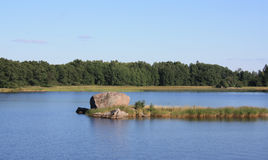 Small  islet on water. Summer Stock Image