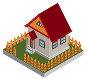 Small isometric house. Isolated over white Royalty Free Stock Image