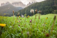 Small Italian little church in wonderful natural environment  St. Magdalena in Val di Funes Stock Photos