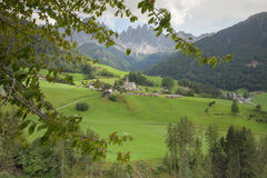 Small Italian mountain town in the Dolomites St. Magdalena in Val di Funes Royalty Free Stock Image