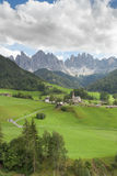Small Italian mountain town in the Dolomites St. Magdalena in Val di Funes Royalty Free Stock Photos