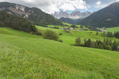 Small Italian mountain town in the Dolomites St. Magdalena in Val di Funes Royalty Free Stock Images